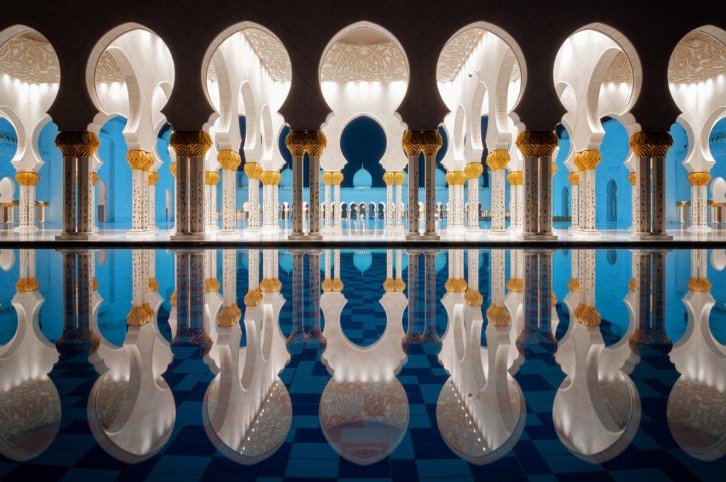 Night reflection at Mosque, Abu Dhabi, United Arab Emirates